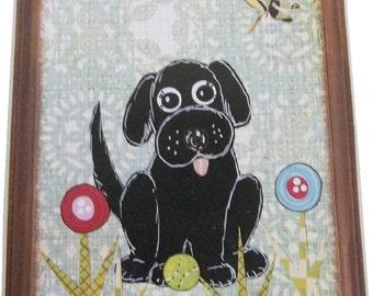 Dog Leash Holder, Hanger, Hook, Key Holder, Hanger, Hook, Wall Hanging Plaque, Nursery Baby's Room, Black Labrador Puppy, 5x7, MADE TO ORDER