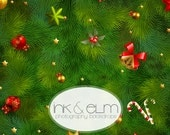 """Christmas Tree Background 6ft x 6ft, Holiday Photography Backdrop, Christmas tree holiday photo backdrop, Ink and Elm's """"Boughs of Holly"""""""