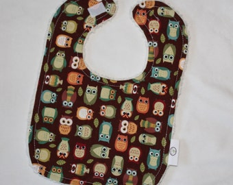 Brown Owls Fabric and Chenille Boutique Bib