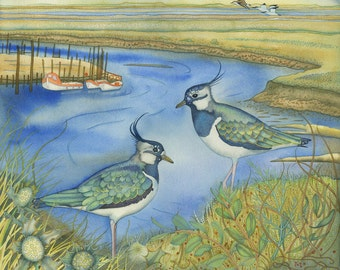 Single Greetings Card of an original painting: 'Lapwings at Morston'.