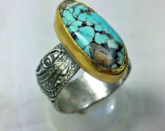 American Turquoise Statement Ring, Silver,  22 kt yellow gold and turquoise Solitaire Ring, etched silver ring