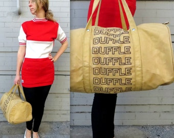 DUFFLE DUFFLE BAG - Free domestic shipping! // 1970's Canvas Duffle Bag // Unisex Carry On Bag // Typography // Graphic Design // Duffel Bag