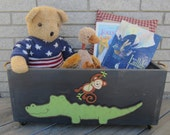 Toy Box JUNGLE ANIMALS - Hand Painted Wood Primitive/Rustic - Hand Crafted In Michigan