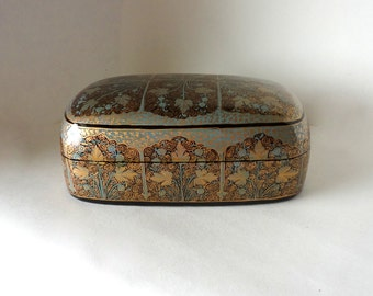 Vintage Exotic Aqua & Gold Leaf Lacquered Kashmir Paper Mache Dresser Box Handpainted HandMade Filigre Gift Presentation Trinket Hostess