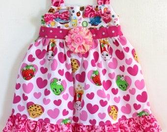 Shopkins Knot Dress, Girls dress, toddler dress, birthday dress, summer dress, spring dress, knot dress