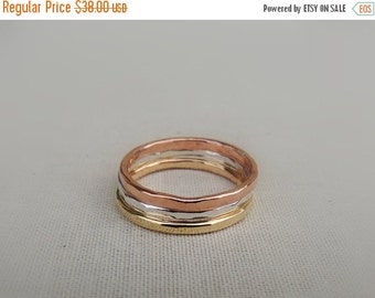 ON SALE Stackable Rings - mixed metal midi rings - copper sterling nugold rings - stackable rings