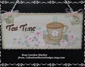 Tea Time and Roses, Hand Painted Roses Wall Art Sign, Button Accents, Shabby Chic Decor, Home Accent, ECS