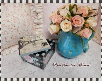 Paris Roses and Aqua Flowers Keepsake Trinket Box, Signature Design, Original, Collectible, Gift, Dresser Display, Storage, ECS