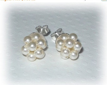 ON SALE 15% OFF Plain Pearl Cluster Studs