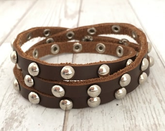 Leather wrap bracelet with rivets- 3rd anniversary gift - long bracelet - wrap leather bracelet
