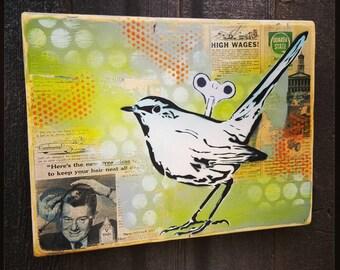 Wind Up Birdie Original Graffiti Art Painting on Wood Panel RePurposed Ply Wood Bird Art