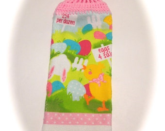 Eggs 4 Sale Easter Hand Towel With Soft Pink Crocheted Top