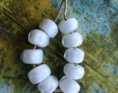 White pearls - tiny nuggets with handshaped facets  Handmade Glass Bead Set  Ellen Dooley  SRA (10)