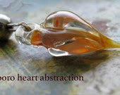 borosilicate heart pod abstraction + silver bead  ... Lampwork Beads by Ellen Dooley