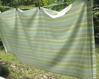 Vintage Textured Cotton Shower Curtain - White Taupe Lime Aqua Stripe