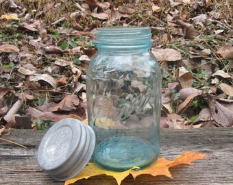 Vintage Blue Quart Mason Jar With Ghost Writing - 1929 to 1933