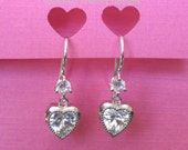 Love is in the Air Swarovski crystal sterling silver french wire earrings rhinestone heart love engagement bridal jewelry Valentines Day