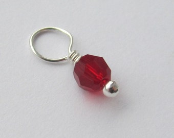 Siam Round Swarovski Crystal 4mm Sterling Silver Dangle Charm, July Birthstone Charm, With or Without Sterling Silver Jump Ring