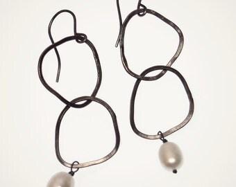 PEARL EARRINGS hoop earrings with pearl sterling silver earrings valentines day gift for her double hoop earrings entwined freshwater pearl