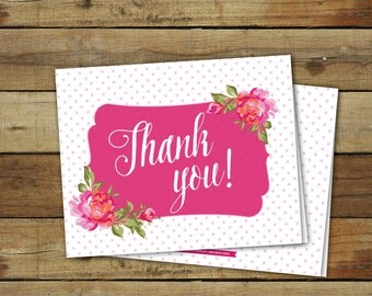 Printable shower thank you cards - pink roses thank you cards - instant download