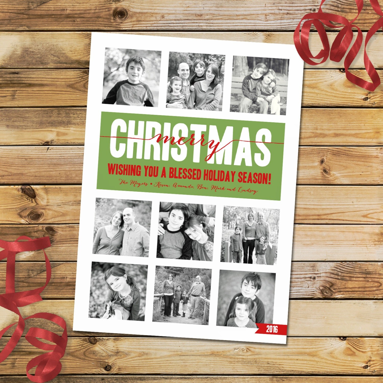 custom photo christmas card holiday card photo collage card