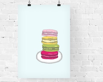 French Macarons Decorative Foodie Illustration Art Print