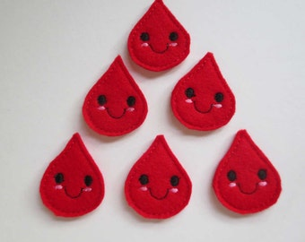 Red Felt Blood Drops Embroidered Embellishment - 314