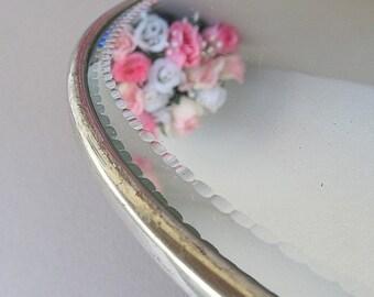 Vintage Round Mirror, Mirrored Vanity Tray, Metal Dresser Tray, Metal Tray With Mirror, Vanity Tray, Bathroom Mirror, Bedroom Mirror