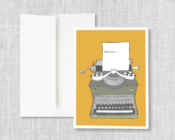 "greeting cards, greeting card set, blank greeting card, cards, vintage typewriter, retro typewriter, blank card - ""Typewriter Miss You"""
