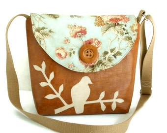 Bird on Branch Messenger Bag - Peace Dove - English Garden - Adjustable Strap - Romantic Floral - Cross Body - Vegan
