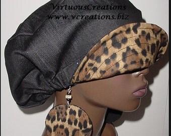 Hat Earring Set-Reversible-Dreadlocks-Natural Hair Accessories-Black Denim-Cheetah-Animal Print