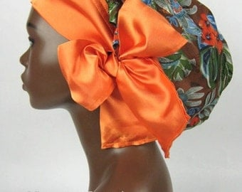 Sweet Sleep Slumber Bonnet Cap Tropical Floral Print with Orange