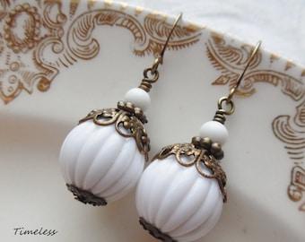 Sale- Snow White, Vintage Bead Earrings