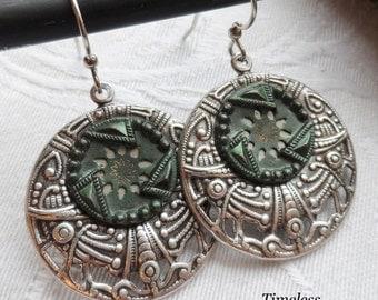 Evergreen, Antique Button Earrings