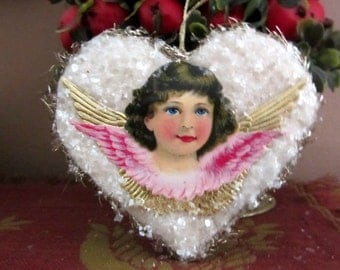 Vintage Style Pressed Spun Cotton Heart Victorian Christmas Ornament with Angel Diecut, Dresdens and Vintage Mica
