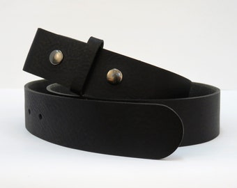 black double snap premium leather belt