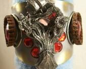 Sale Killer Kraken Steampunk Gothic Goth Unisex Mixed Media Cuff Bracelet Shabby Rusty Funky Trendy Original Bold Accessory Free Shipping