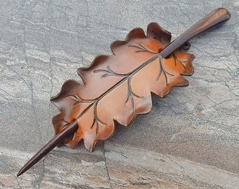 Autumn Leaf Leather Shawl Pin, Brown Oak Hair Slide in Fall Hues, Barrette or Hair Pin with Coco Bolo Stick
