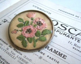 Cross Stitch Peach Blossoms vintage brooch - pink flowers and green leaves on a silver round pin - 1950s - Spring