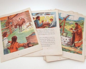 Vintage Lithograph Illustrations - Wild West - Val Rides the Oregon Trail - Sanford Tousey - Vintage Childrens Illustrations - Pioneers