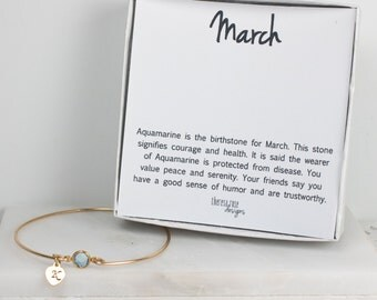 Personalized March Birthstone Gold Bangle Bracelet, Personalized Aquamarine Gold Bracelet, Aquamarine Bangle, March Birthstone Bracelet