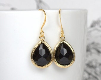 Black Gold Framed Dangle Earrings, Gold Earrings, Black and Gold Earrings, Black Teardrop Earrings, Bridal Jewelry #807