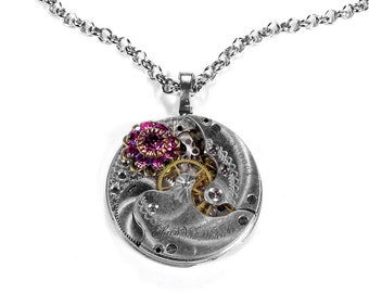 Steampunk Jewelry Necklace ELGIN ORNATE Pocket Watch Rose Pink Crystal Swarovski Flower Mother's Day Gift Fashion - Jewelry by edmdesigns