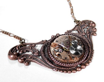 Steampunk Jewelry Necklace Vintage ROSE GOLD Watch Movement Copper ViCTORIAN Filigree Womens Mens Necklace - Steampunk Jewelry by edmdesigns