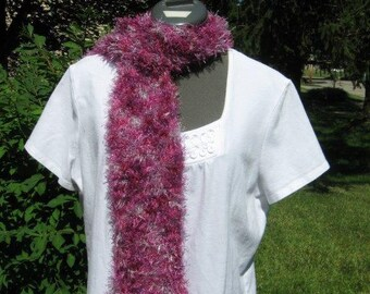 Handknit Magenta and Lilac Varigated Scarf
