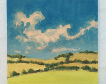 Original Landscape Painting on canvas 8x8 Clouds Hills Sky California