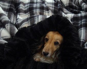 Dog Bed - Snuggle Sack - Plaid Minky /Minky Fur - Includes Personalization