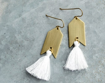 White Tassel Earrings, White and Gold, Natural Brass Tassel Earrings, Arrowhead, Arrow Earrings