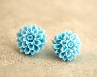 Flower Earrings, Turquoise Blue, Dahlia Studs