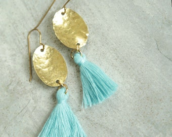 Cayo Aqua Tassel Earrings, Hammered Brass Drop with Turquoise Blue Silk Tassel